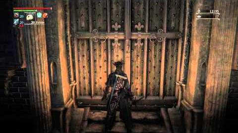 Bloodborne password door in Cathedral Ward to the Forbidden Woods