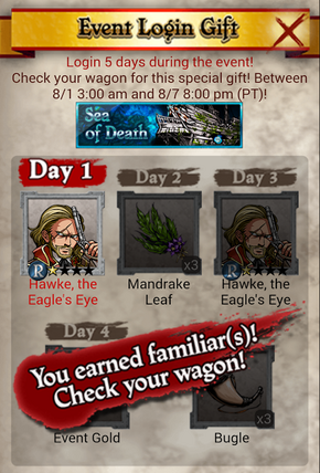Sea of Death Daily Login Bonus