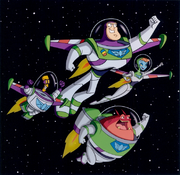 Team Lightyear flying in space