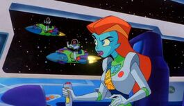 Mira at the controls, with the Zurg possessed Spacerangers.