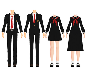 Mmd world school uniforms done by kaahgome-d4hmtfl
