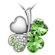 Green Color Four Leaves Clover Crystal Necklace Free shipping jpg 200x200