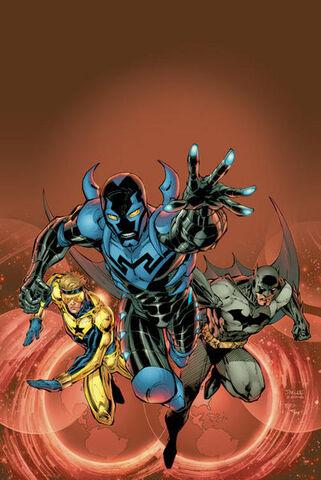 File:Booster Gold Blue Beetle Jaime Reyes and Batman Bruce Wayne.jpg