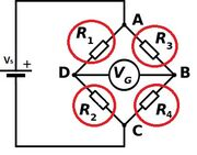 Wheatstone bridge balanced