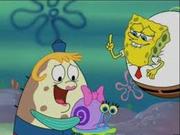 Bob Esponja ayudando a la Sra. Puff con su caracol