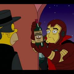 Bob Esponja disfrazado en los Simpsons.