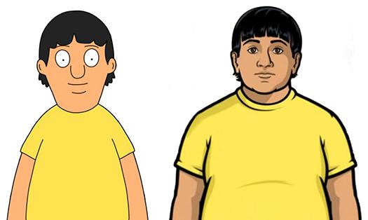 Bobs-Burgers-Wiki Archer Gene Split-comparison 01a