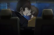 Akane and Shinya kissing