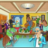 BoJack watching the Superbowl with Hollyhock's dads
