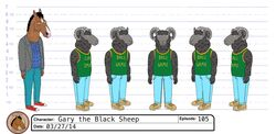 Gary the black sheep model sheet