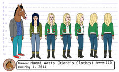 Naomi Watts with Diane's clothes model sheet