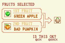 Green Apple + Bad Pumpkin = Heal Fruit