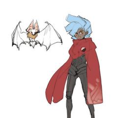 Concept art of Django with a pet white bat