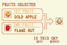 Gold Apple + Flame Nut = Heal Fruit