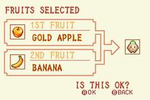 Gold Apple + Banana = Heal Fruit