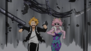 Denki and Mina run from Nezu