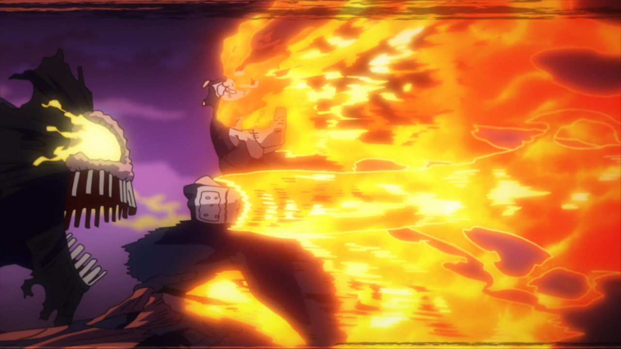 Endeavor fighting off a High end Nomu in My Hero Academia