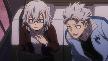Fuyumi and Natsuo watching their father fight