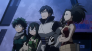 Izuku, Tsuyu, Tenya and Momo watch