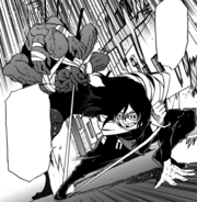Aizawa captures Octoid with his bidding cloth