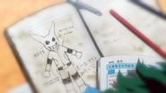 Boceto hecho por Deku sobre su traje de héroe