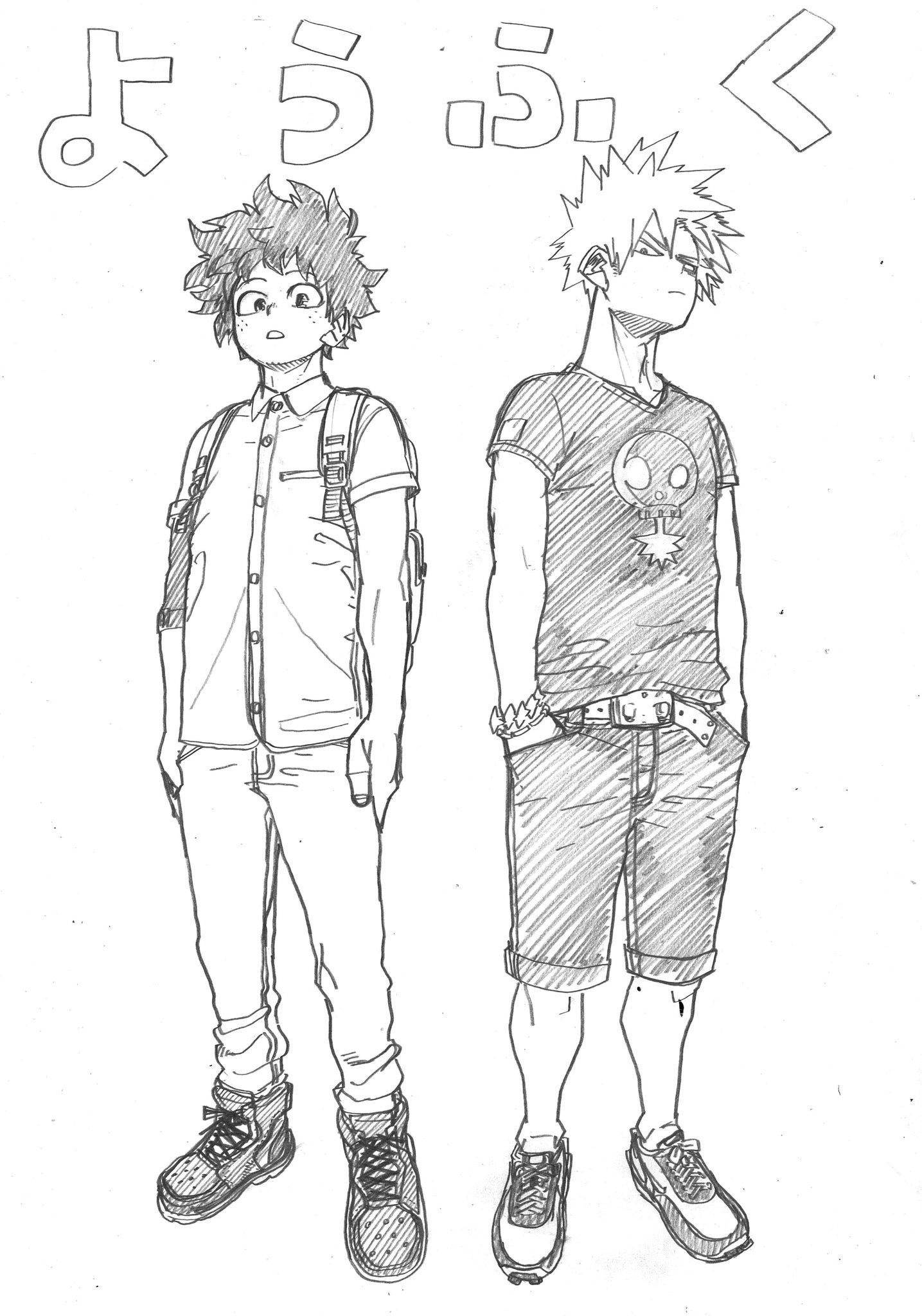 Katsuki and Izuku Western-style clothes