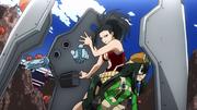 Momo Toru and Tsuyu shielded from the attack