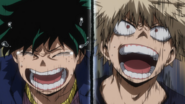 Izuku and Katsuki cheer on All Might