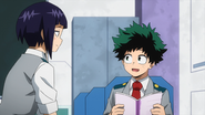 Izuku talking to Kyoka