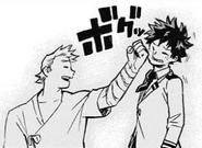 Mirio Togata cheering Izuku Midoriya