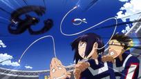 Fumikage bloqueando el ataque de Kyouka