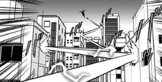 Number 6 jumping between buildings
