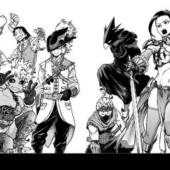 Momo Yaoyorozu, Fumikage Tokoyami, Mashirao Ojiro, Denki Kamninari, Mina Ashido, Hanta Sero y Toru Hagakure con trajes de fantasía.