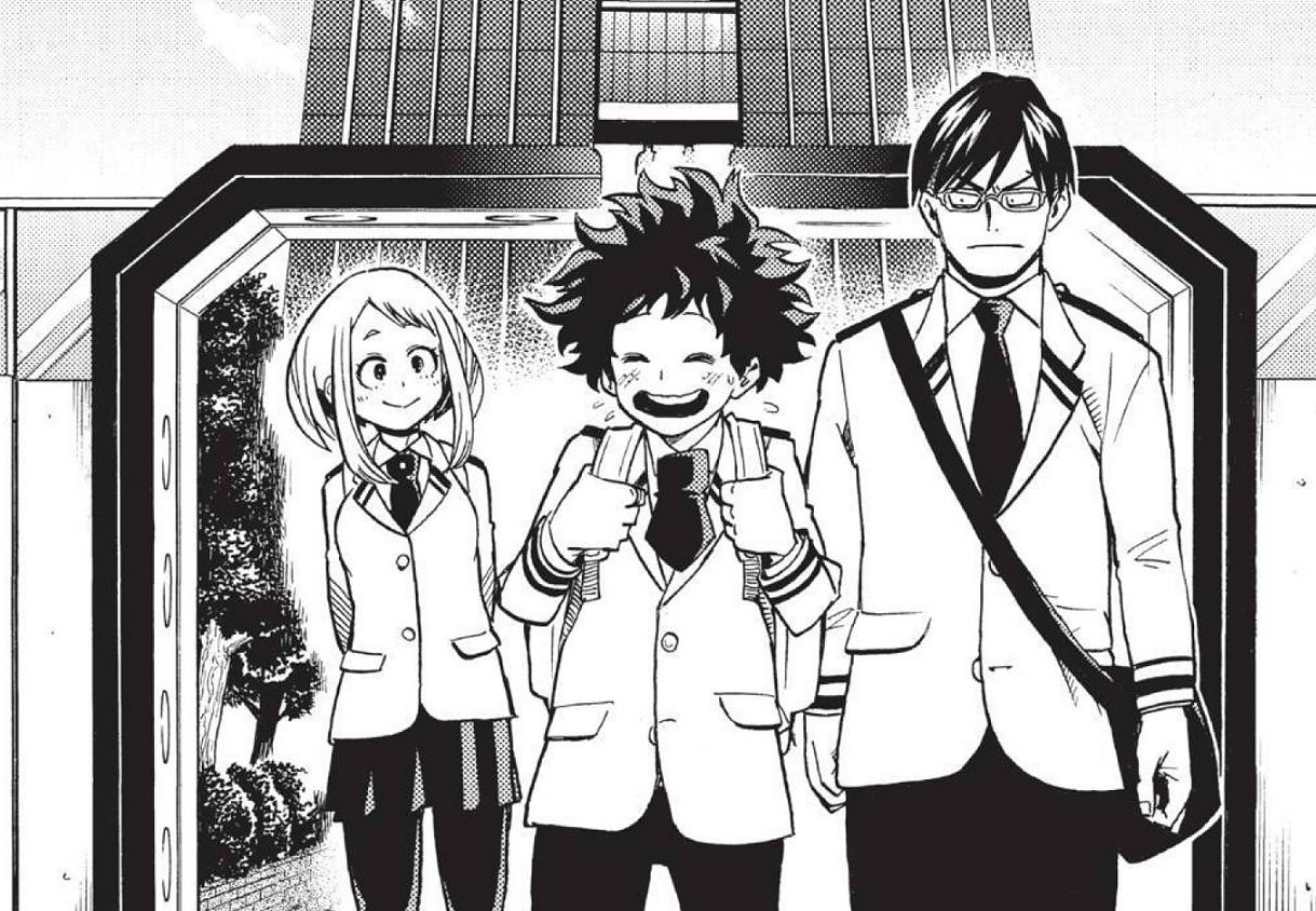 Ochaco walks home with Izuku and Tenya