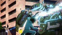 Yuga using Navel Laser on a Villain Bot