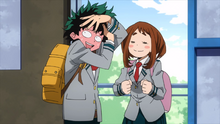 Izuku blushes next to Ochaco