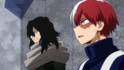 Shoto Todoroki watches Mirio defeat his classmates