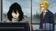 Shota reassuring All Might about the program