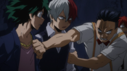 Tenya stops Izuku and Shoto