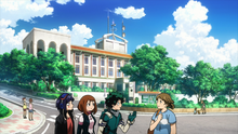 Izuku, Ochaco and Kyoka looking for a lost boy