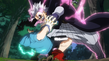 Gentle tries to crush Izuku with brute force.