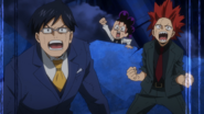 Tenya, Eijiro, and Minoru encourage Izuku