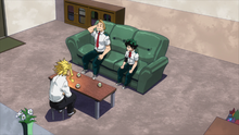 All Might talking with Izuku Midoriya and Mirio Togata