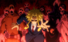 Toshinori Yagi surrounded by zombies