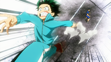 Tenya watches Izuku save Ochaco