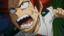 Eijiro attacks a dirt monster