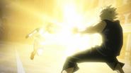 Katsuki Bakugo uses Stun Grenade on Izuku