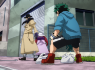 Izuku gets ready to engage in combat with Gentle Criminal