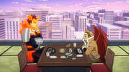 Endeavor and Hawks in the restaurant