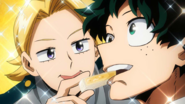 Yuga gives cheese to Izuku